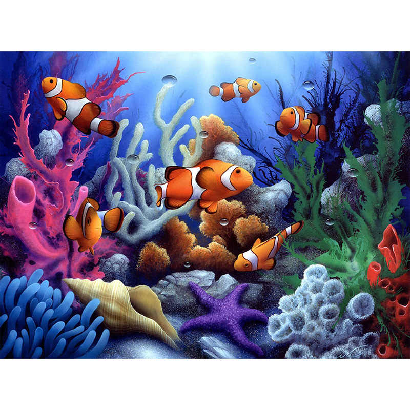 5D Tự Làm Tranh Gắn Đá chữ thập Biển Cá Nhiệt Đới & San Hô Full Kim Cương Vuông Thêu Kim Cương Giả Khảm Thủ Công