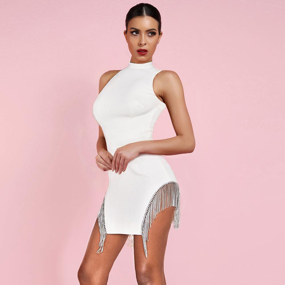 Ocstrade 2019 nouveauté été cristal garniture Bandage robe de soirée Sexy blanc Bandage robe femmes sans manches moulante Mini robe