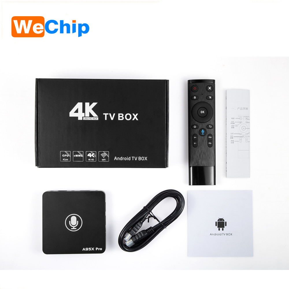 2PCS/LOT A95X pro Smart TV Box Android 7.1 S905W Quad Core 2G+16G 2.4G Wifi Android TV +Google OS Voice Control Set Top Box