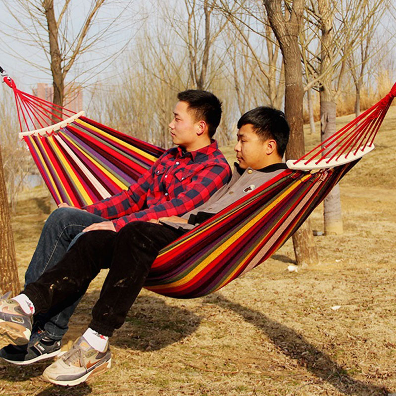 260*80cm Cavans Hammock Portable Outdoor Play Leisure Hammock Garden Home Travel Camping Swing Canvas Stripe Hanging Bed Hangmat