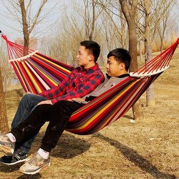 260*80cm Cavans Hammock Portable Outdoor Play Leisure Garden Home Travel Camping Swing Canvas Stripe Hanging Bed Hangmat - discount item  21% OFF Outdoor Furniture