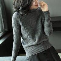 Для женщин зима осень Модные свободные толстые теплые водолазки одноцветное 100% кашемир вязаный свитер дамы Винтаж джемпер удобный свитер