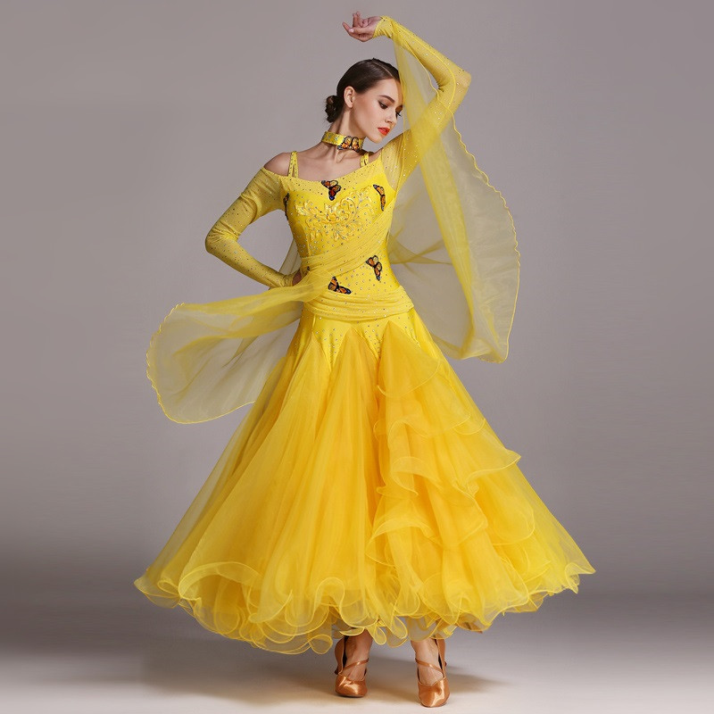 Ballroom Dress Standard Social Dress Ballroom Dance Competition Dress Viennese Waltz Dress Women Dance Costumes Leotards Sequins