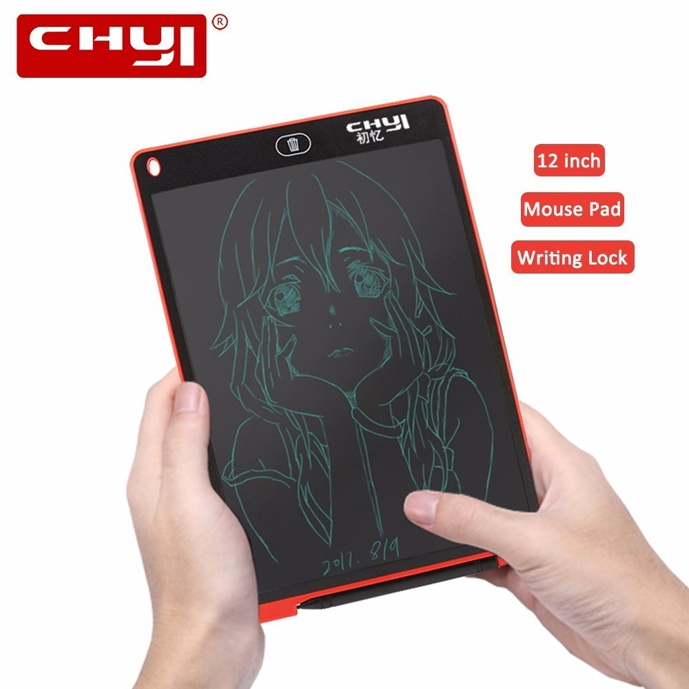 CHYI 12 inch LCD Digital Wrting Tablet Drawing Board 5 Colors Handwriting Pads Electronic Graphics Memo Message Paperless + Lock