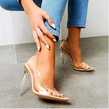 Hot 2019 New PVC Women Sandals Sexy Clear High Thin Heels Party Wedding Sandals Summer Fashion Jelly Shoes 35-42 Plus Size XL378