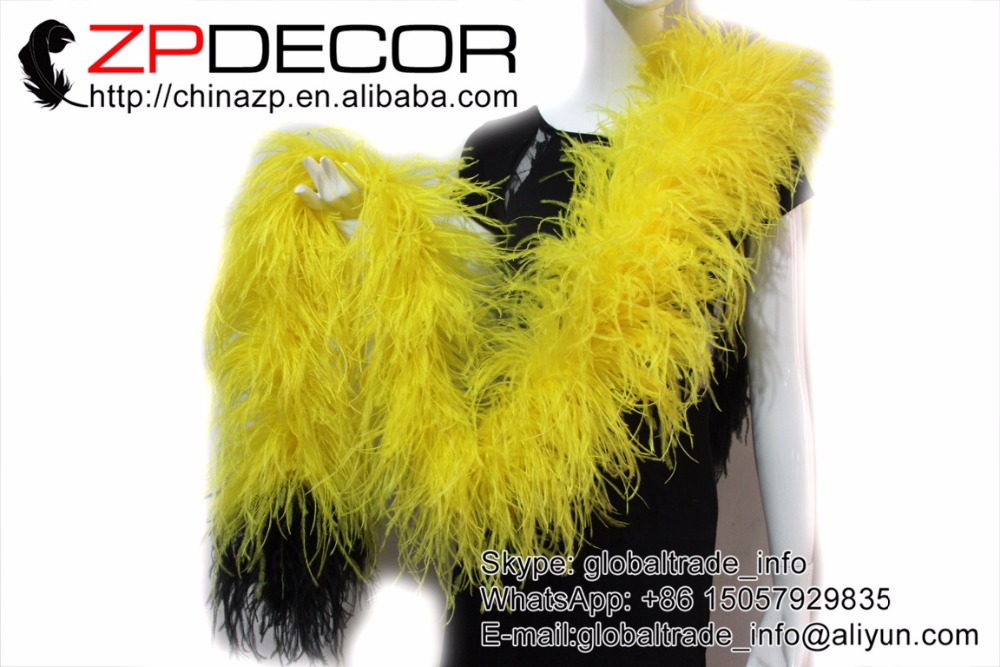 Wedding dress yellow feathered ostrich.