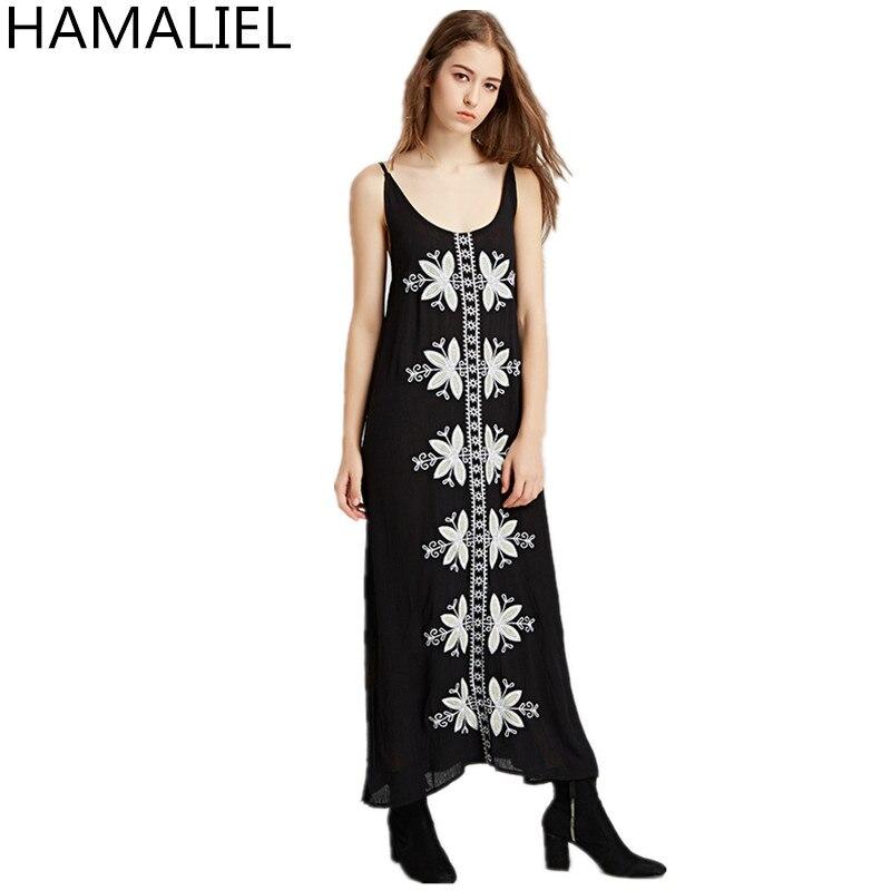 Designer de piste Boho Style plage femmes robe 2018 été Spaghetti sangle broderie fleurs coton fendu longue Hippie Maxi robe