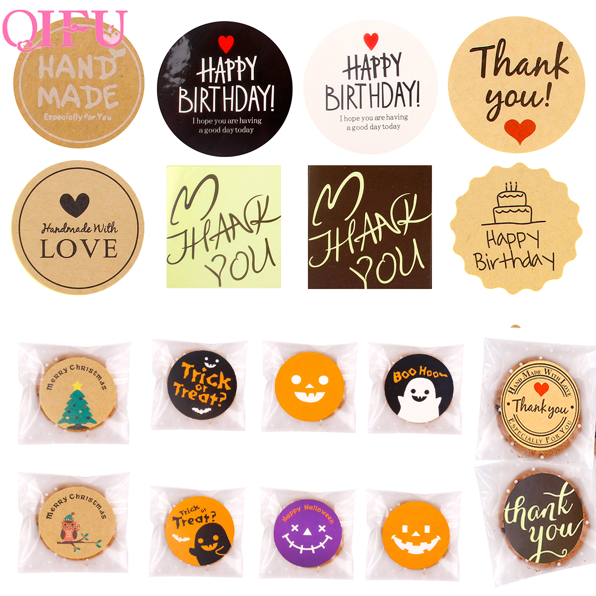 QIFU Handmade Tag Sticker Thank You Stickers Seal Labels Happy Birthday Cake Christmas Gift Label Sealing