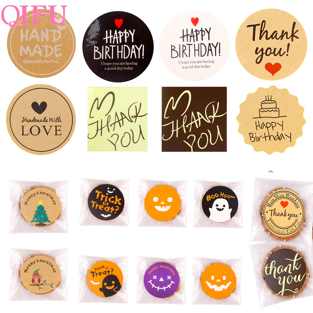 QIFU Handmade Tag Sticker Thank You Stickers Seal Labels Happy Birthday Cake Christmas Gift