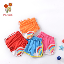 2019BAILIWEINI summer new boys and girls embroidery rainbow candy color multicolor cotton shorts