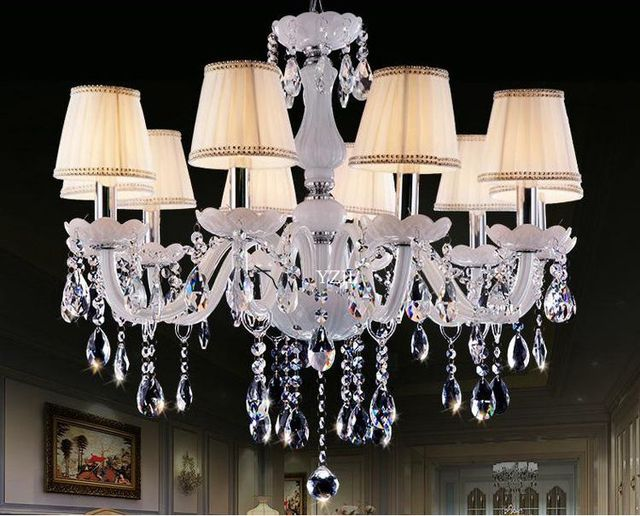 10 Candle Chandelier Crystal Garden Light White Modern Minimalist Living Room Dining