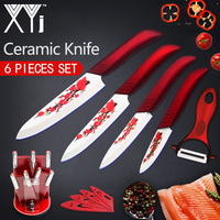 XYj Ceramic Kitchen Knives Kitchen Tools Set Accessories Flower Print Set 3 4 5 6 Cooking