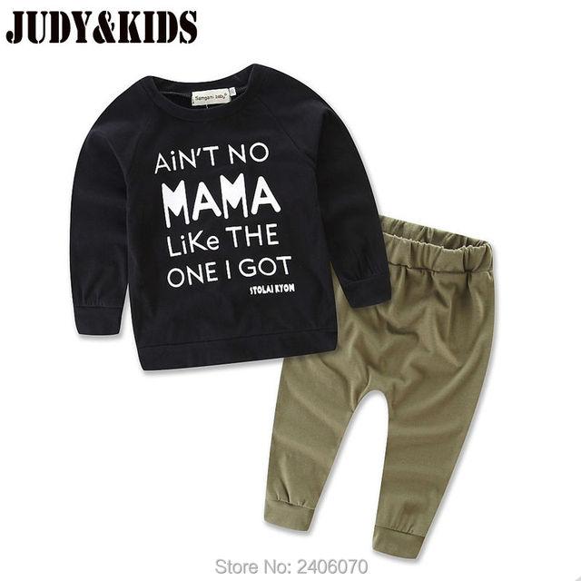 Muchachos Determinados de la ropa de algodón niños del otoño tops + pantalones bebé niños bobo ropa mama Letra imprimir chándal camiseta de la manera outfit