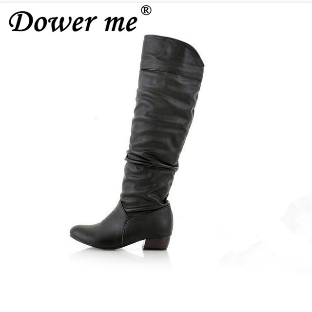 91825f3a4d3b 2018 spring autumn shoes Knee high Women Boots Black White Brown flat heels  half boots Plush in winter Large size 34-43 zapatos