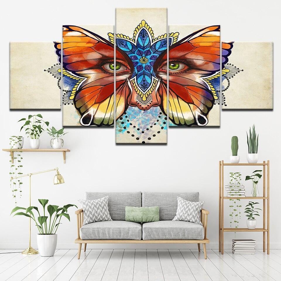 HD Baskılar Soyut Resim Ev Dekor 5 Adet Renkli Kelebek Çiçekler Gözler Boyama Duvar Sanatı Modüler Tuval Poster Çerçeve