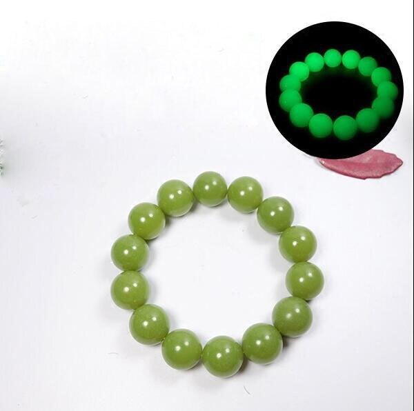 Perles naturelles 14mm fluorite pierres précieuses lumineuses lien bracelet élastique lueur dans les pierres lumineuses sombres Bracelets bijoux fins