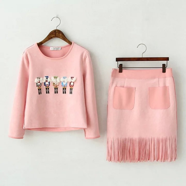 2016 New fashion Women Black pink 2pc set Knit Suit  Pullover Crop Top Wrap Hip Skinny Skirt Set  Breathable comfortable 2pcs