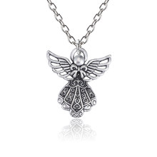 Ancient Silver Alloy Angel Girl Pendant Necklace For Women Charms Guardian Angel Wings Jewelry DIY Necklaces Creative Keepsake(China)