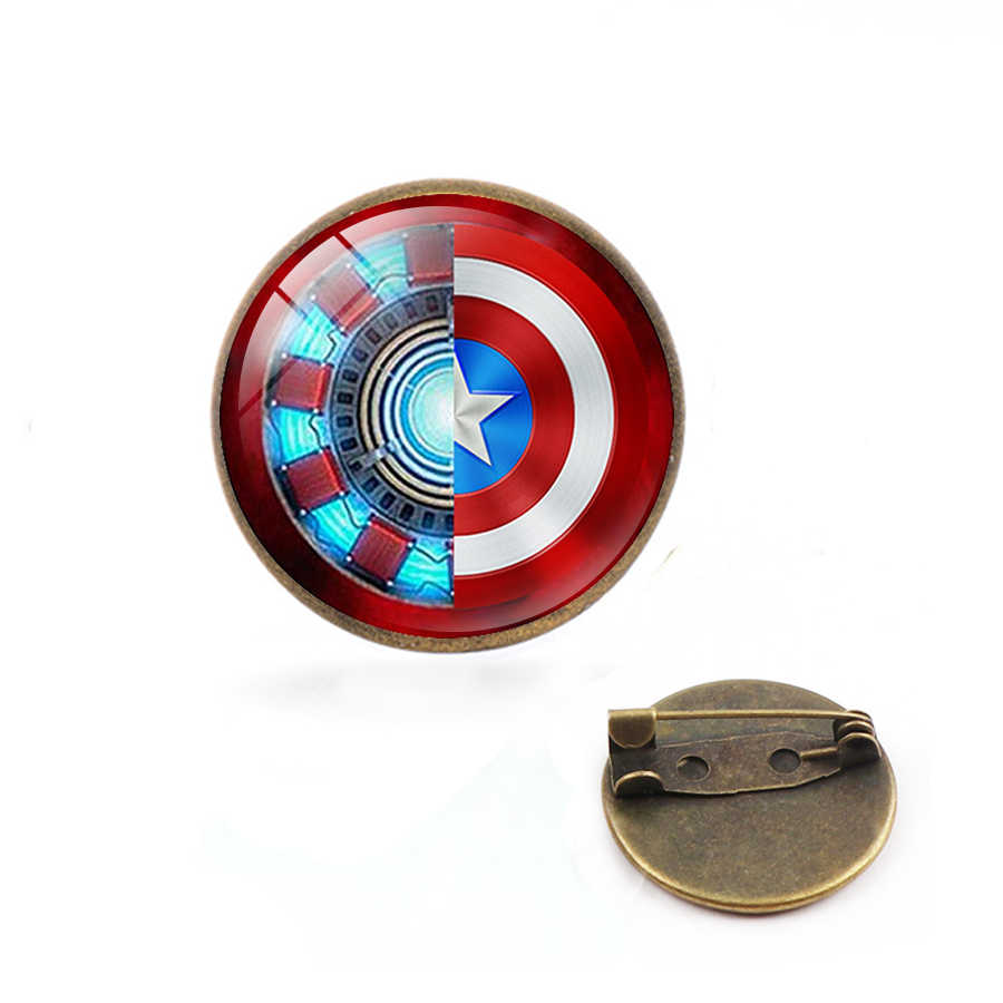 Hot Iron Man Jantung Bros Crystal Kaca Bulat Liontin Hadiah Perhiasan Pin Avengers
