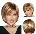 Natural Brown Blonde Mix Straight Short Hair Wigs Short Raquel Welch Fashion Wig Kanekalon Hair no lace wigs