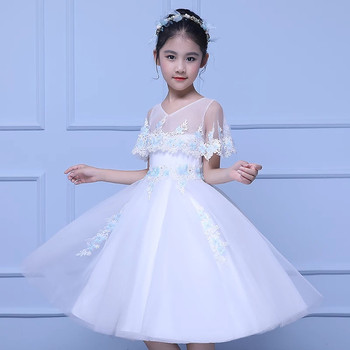 2019Summer New Arrival Kids Baby Elegant White Embroidery Flowers Birthday Wedding Party Princess Dress Little Girls Clothes