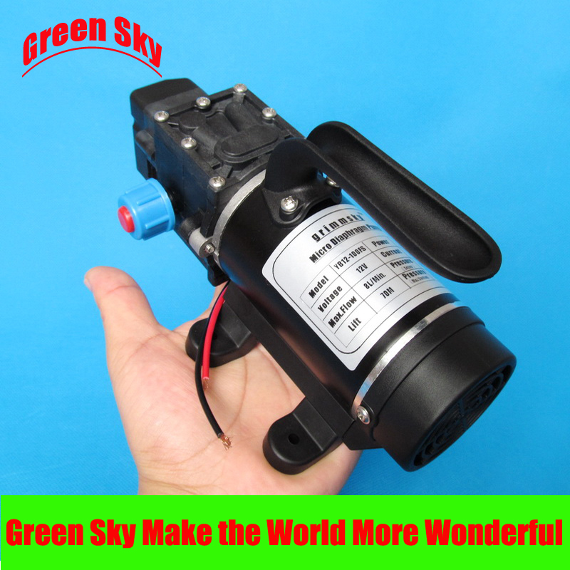 New Arrival automatic pressure switch type with handle and cooling fan 8L/Min 100W DC 12V electric diaphragm pumpNew Arrival automatic pressure switch type with handle and cooling fan 8L/Min 100W DC 12V electric diaphragm pump