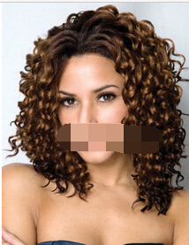 004286 Wigs Fashion Women Party Sexy Short Curly Brown Natural Synthetic Full Wig