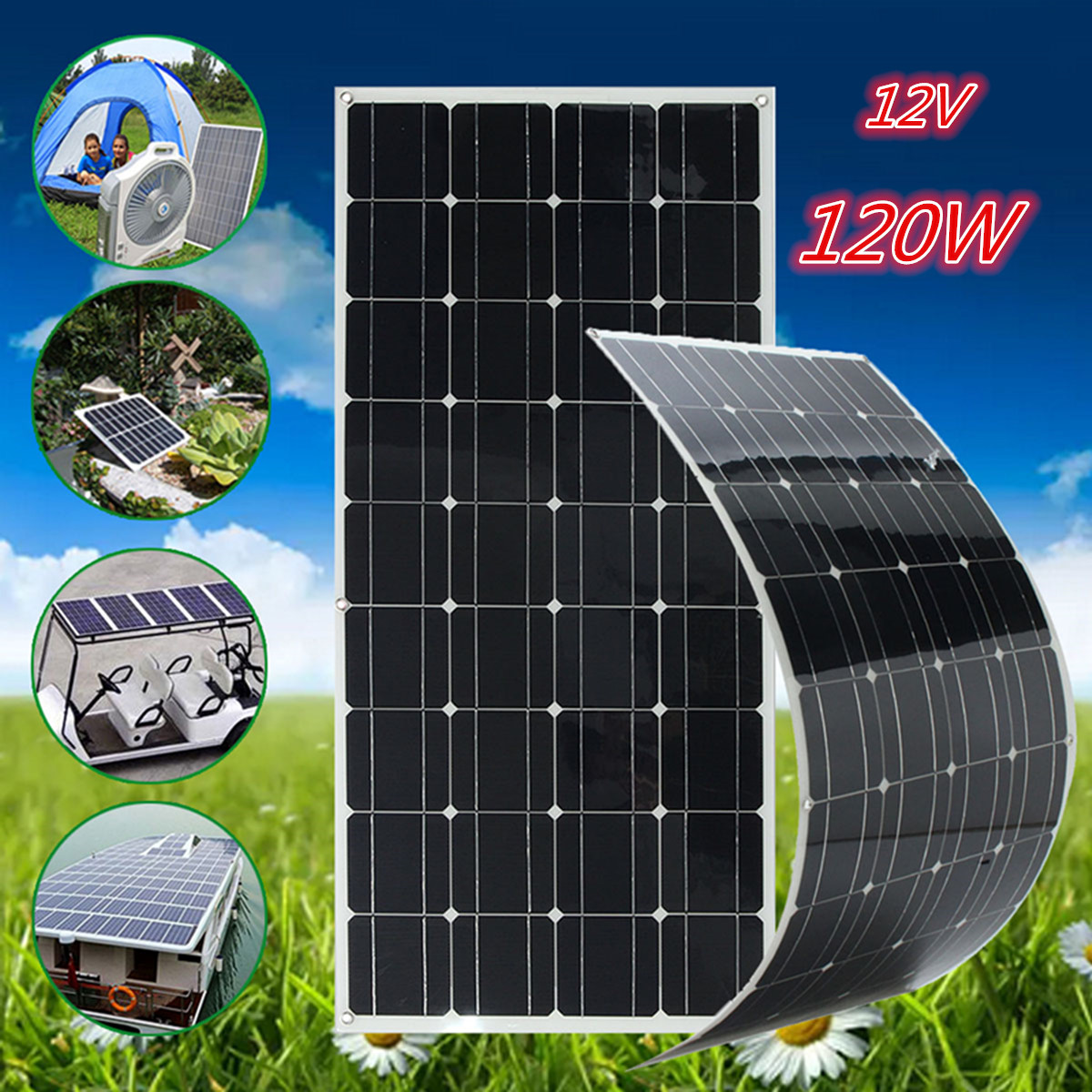 CLAITE 120W 18V Flexible Solar Panel Kit 12V Solar Charger For Car Battery Charger 12V Sunpower Monocrystalline Silicon Cells leory 5w 18v solar panel monocrystalline waterproof multi purpose solar cells charger for mobilephone cars boat motorcycle