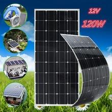 CLAITE 120W 18V Flexible Solar Panel Kit 12V Solar Charger For Car Battery Charger 12V Sunpower Monocrystalline Silicon Cells