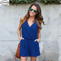 Summer Women Fashion V-neck Chiffon Playsuit Female Jumpsuit Casual Jumpsuits Rompers