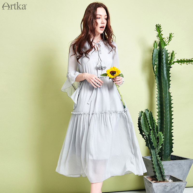 ARTKA 2019 Spring Summer Women Chiffon Dress Butterfly Sleeve Fairy Long Dresses Adjustable Waist Sashes Dress