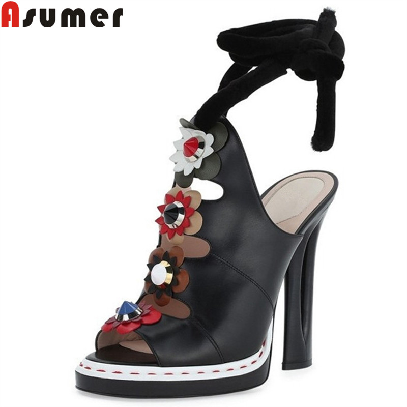 ASUMER 2019 new genuine leather shoes women peep toe summer sandals super high heels shoes slingback gladiator sandals women ASUMER 2019 new genuine leather shoes women peep toe summer sandals super high heels shoes slingback gladiator sandals women