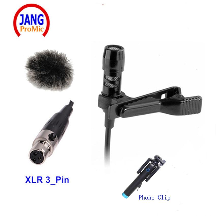 Micrófono de solapa profesional Condensador Lavalier Microfone Condensador para AKG Samson Sistema de micrófono inalámbrico Mini XLR 3Pin