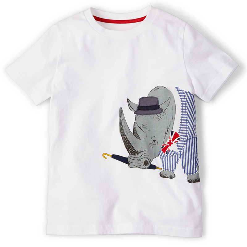BINIDUCKLING Summer Children boys T Shirts Printed rhinoceros T Shirts summer clothes Clothing Kid T-shirt for Baby Kids Cloth