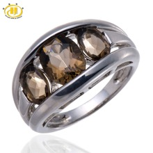 Hutang Pure Smoky Quartz Stable 925 Sterling Silver Ring Girls's Fantastic Jewellery Three stone Traditional Model