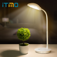 ITimo USB Power LED Desk Lamp Adjustable Flexible Book Reading Light Dimmable Table Lamp 3 Mode