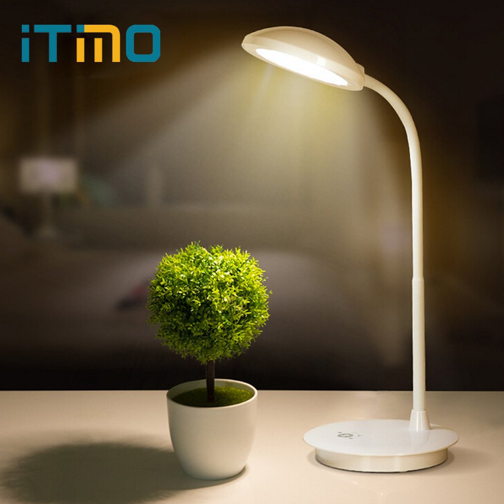 iTimo USB Power LED Desk Lamp Adjustable Flexible Book Reading Light Dimmable Table Lamp 3 Mode Modern Touch Light White usb powered 18 led white light flexible desktop lamp w adapter white silver