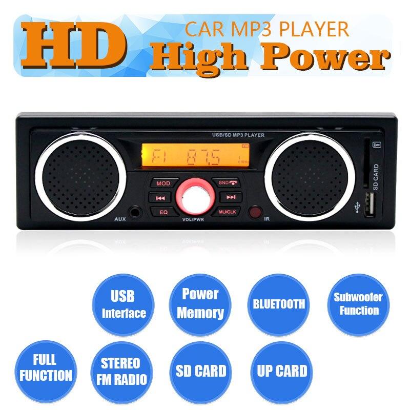 2 haut-parleurs intégrés lecture audio 1 din | Autoradio, lecteur audio MP3, Bluetooth, mains libres, stéréo, FM, prend en charge USB SD AUX