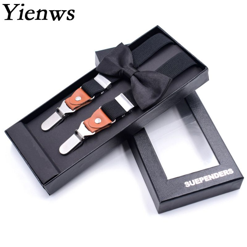 Yienws Bow Tie Suspenders For Boys Vintage Elegant Brace And Bow Tie Plain Black Set Suspender Royal Blue Red Bretele YiA043