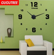 Decorate 3D number clock art wall mirror sticker decoration Decals mural painting Removable Decor Wallpaper LF-1887