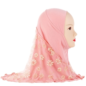 Image 1 - Children Kids Muslim Small Girl Hijab With Lace Flower Pattern Islamic Scarf Shawls Stretch 56cm 7 11 Years Old