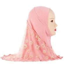 Kinderen Kids Moslim Klein Meisje Hijab Met Kant Bloem Patroon Islamitische Sjaal Sjaals Stretch 56 Cm 7 11 Jaar oude