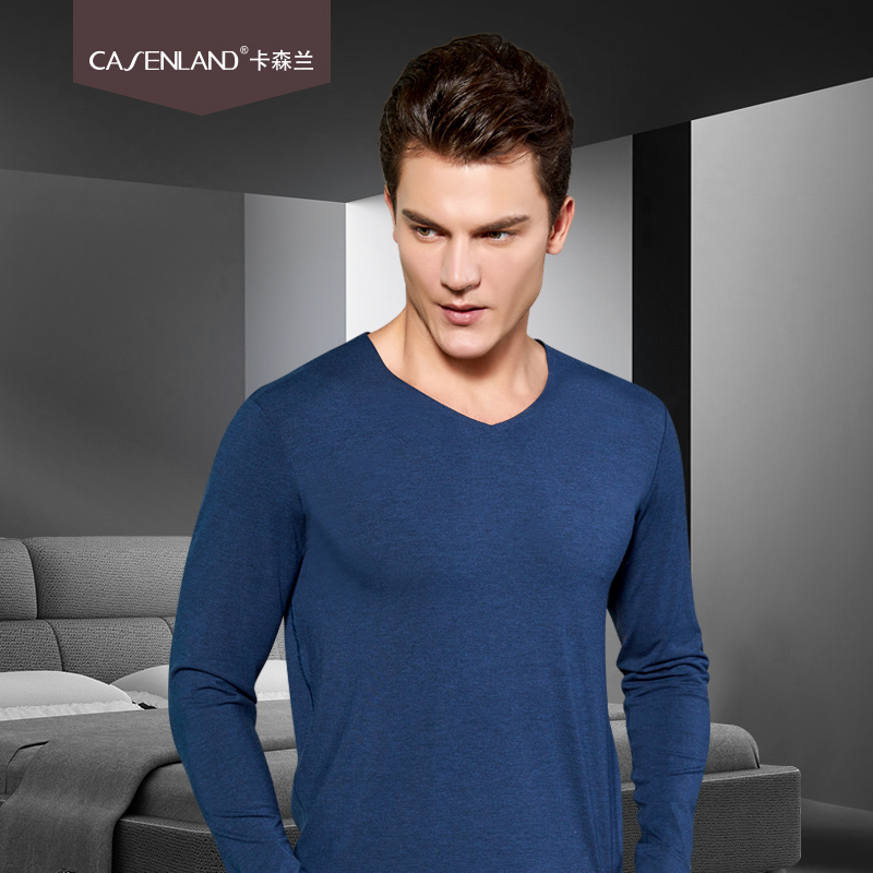 2019 Autumn And Winter New Men's Light Luxury Wool Seamless Thermal Underwear V-neck Autumn Clothes Youth Thin Section