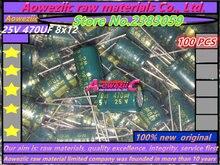 Aoweziic {100 pièces} 25 V 470 UF 8X12 condensateur électrolytique à cristaux liquides haute résistance basse fréquence 470 UF 25 V 8*12