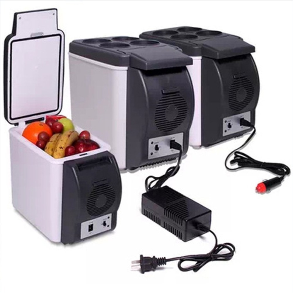 6L Mini Car Refrigerators Fridge 2 In 1 Cooler Warmer Icebox 12V Travel Portable Electric Cooler Box Freezer With 4 Holes Stand