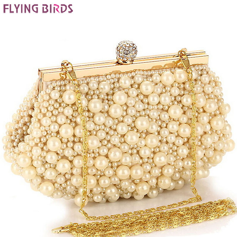Prix pour FLYING BIRDS! femmes sacs à main sac Perlé femmes sac d'embrayage dames chaîne de soirée sacs messenger sacs d'embrayage poche LS1430