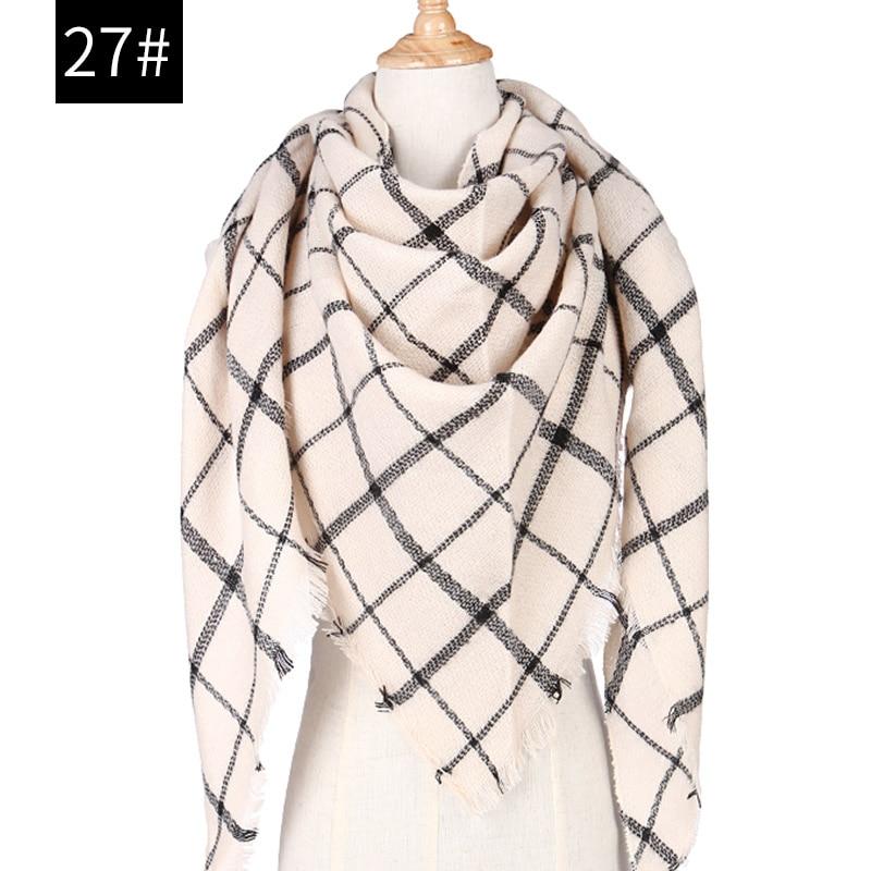 Women Knitted Spring Winter Women Scarf Plaid Warm Cashmere Scarves Shawls Luxury Brand Neck Bandana