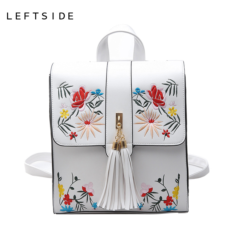 LEFTSIDE Women Hand Bag Embroidery Travel Embroided Bags Women Backpack Fashion Trend For Girls Back Pack Travelling Bagpack