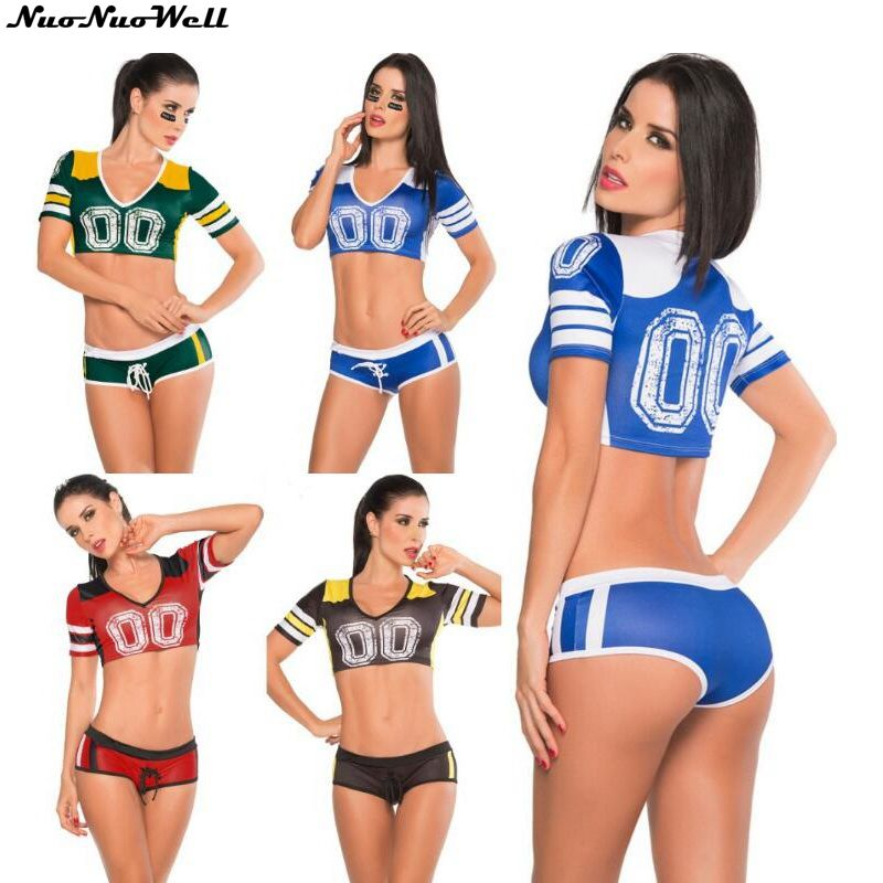Women's Costumes Aspiring New Arrival Night Club Sexy Cheering Squad Costumes Europe Cup Soccer Adult Girl White Uniform Women Cheerleader Team Set Suit Soft And Antislippery