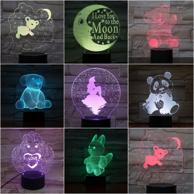 Decoration Heart Kids Bedroom Panda Table In Night 03 Room Atmosphere 3d Dog Gifts Light bear Lamp Us12 Baby 14Off Led Childrens Moon SVUMzp